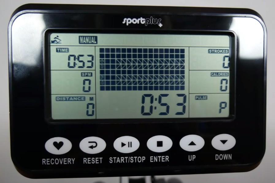 Der übersichtliche Trainingscomputer beim SportPlus SP-MR-011Wasser-Rudergerät.