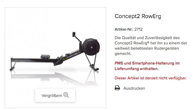 Das Concept2 Modell D oder RowErg Rudergerät ist auf der offiziellen Herstellerseite oft ausverkauft.