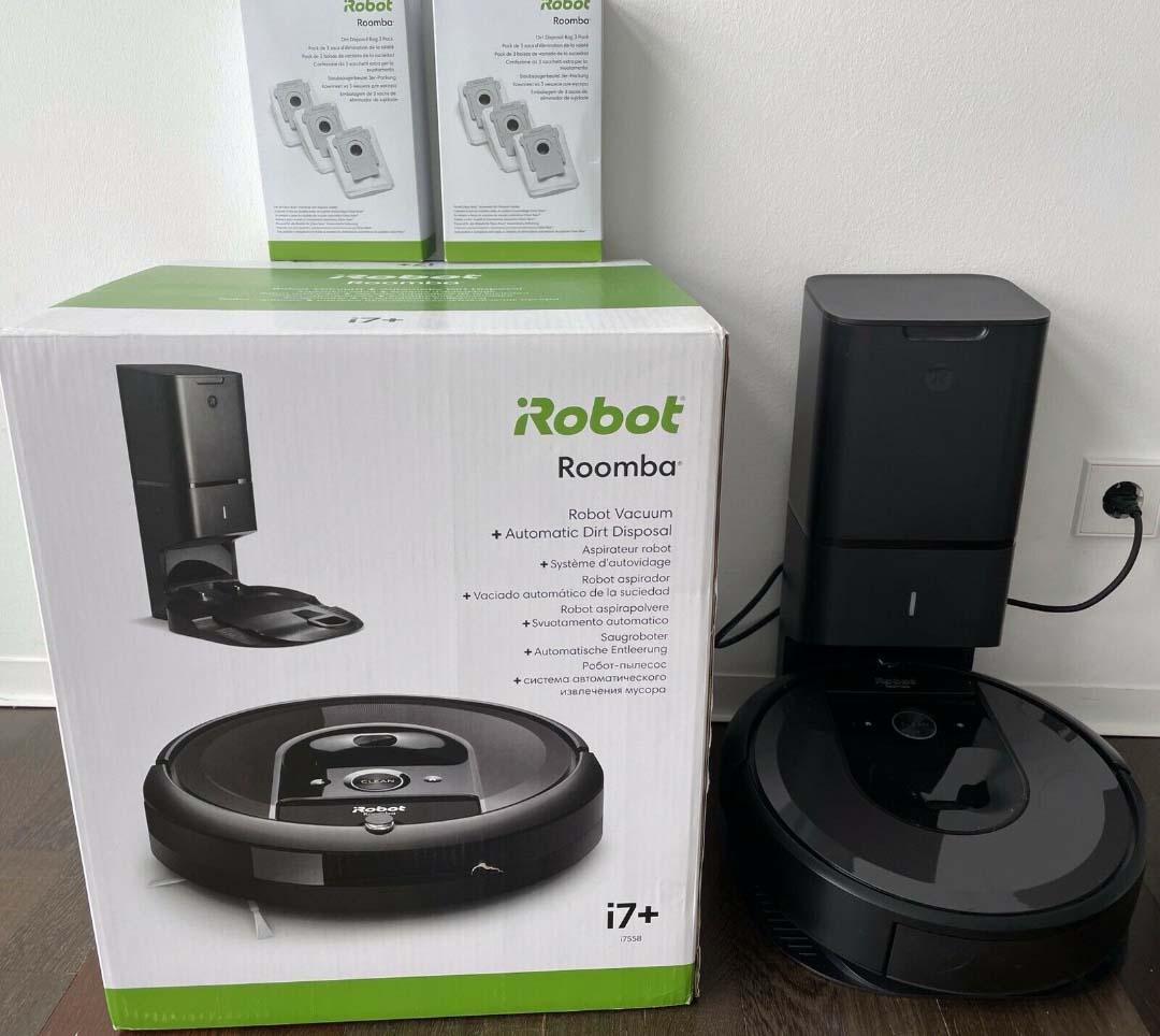 Der iRobot Roomba i7+ inklusive Verpackung.