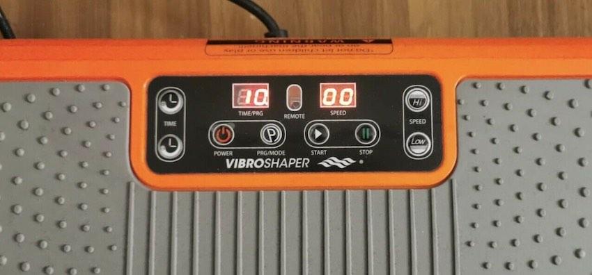 Das Display der Mediashop VibroShaper Vibrationsplatte ist ebenfalls recht spartanisch gehalten.
