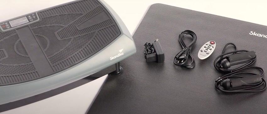 Die skandika V2000 Vibrationsplatte und der Lieferumfang.